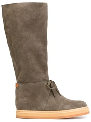 See By Chloe Laced Knee Length Boots Grey