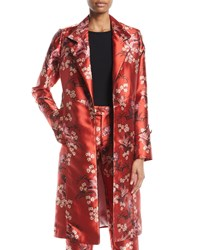 Johanna Ortiz As If Notched Collar Renaissance Victorian Floral Print Mid Length Coat Red Pattern