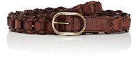 Saint Laurent Men's Vintage Braided Leather Belt Brown