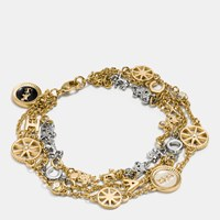 Coach Pave Horse And Carriage Coin Strand Bracelet Gold Silver