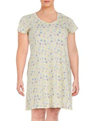 Lord And Taylor Plus Printed Nightgown Yellow Mac