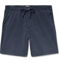 Todd Snyder Weekend Garment Dyed Stretch Cotton Blend Twill Drawstring Shorts Navy