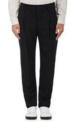 Christophe Lemaire Men's Wool Pleated Front Trousers Black