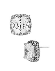 Betsey Johnson Square Silvertone And Cubic Zirconia Stud Earrings