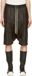 Rick Owens Black Kangaroo Leather Boxer Pod Shorts