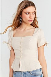 Urban Outfitters Uo Square Neck Button Down Linen Top Neutral