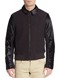 Emporio Armani Calf Hair And Virgin Wool Bomber Jacket Carnation