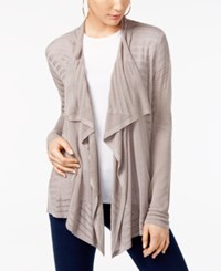 Inc International Concepts Petite Pointelle Draped Cardigan Only At Macy's Truffle Taupe