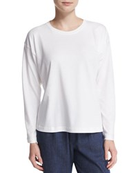 Eskandar Long Sleeve Pima Cotton Top White
