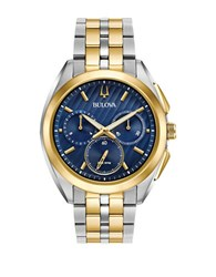 Bulova Curv Chronograph Round Stainless Steel Bracelet Watch Two Tone