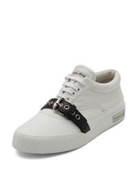 Miu Miu Buckled Leather Low Top Sneaker White Black
