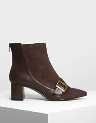 Charles And Keith Buckle Detail Ankle Boots Dk.Brw
