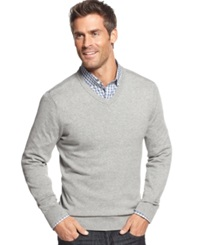 John Ashford Big And Tall Solid Long Sleeve V Neck Sweater Light Grey Heather