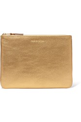 Comme Des Garcons Metallic Textured Leather Pouch Gold