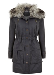 Mint Velvet Granite Faux Fur Parka Grey