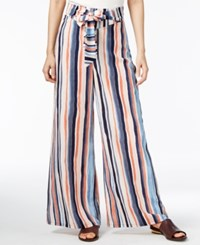 Bar Iii Striped Wide Leg Pants Only At Macy's Hibiscus Bloom Combo