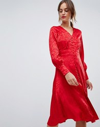 Y.A.S Jacquard Button Through Dress Red