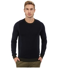Ted Baker Lewcat Color Block Long Sleeve Crew Neck Blue Men's Clothing