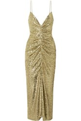 Monique Lhuillier Ruched Sequined Tulle Midi Dress Gold