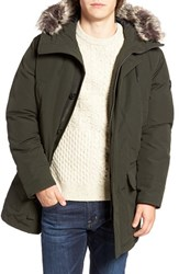 Michael Kors Men's Faux Fur Trim Down And Feather Fill Snorkel Parka Dark Olive