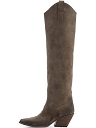 Elena Iachi 70Mm Suede Over The Keee Boots Dark Brown