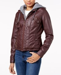 Joujou Jou Jou Faux Fur Lined Faux Leather Jacket Walnut