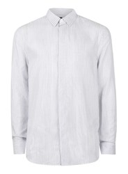 Topman White And Blue Stripe Viscose Casual Shirt