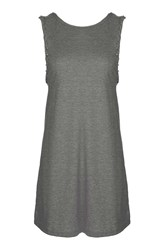 Topshop Braid Sleeveless Tunic Grey Marl