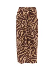 Ganni Knotted Tiger Print Silk Blend Satin Midi Skirt Multi