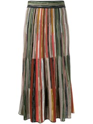 Missoni Striped Knitted Skirt Green