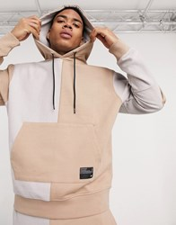 Mennace Co Ord Patch Hoodie With Utility Pocket In Tan