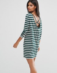Asos Cowl Neck Dress In Stripe With Strap Back Detail Green Multi