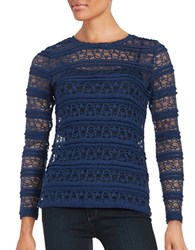 Lord And Taylor Long Sleeve Ruffle Lace Mesh Tee Navy Night