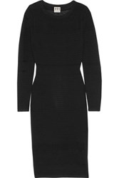 Haute Hippie Paneled Pointelle Knit Midi Dress Black