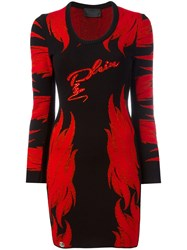 Philipp Plein Flame Pattern Knitted Dress Black