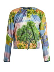Adidas By Stella Mccartney Run Adizero Nature Print Performance Jacket Blue Multi