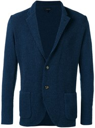 Lardini Textured Two Button Jacket Men Cotton Polyamide S Blue