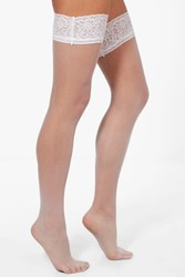 Boohoo Lace Top Stockings White