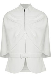 Brandon Maxwell Cape Back Ruched Crepe Jacket White
