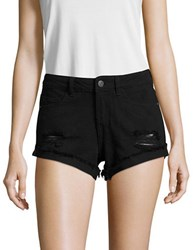 Noisy May Distressed Solid Shorts Black