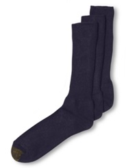 Gold Toe Adc Acrylic Fluffies 3 Pack Crew Casual Men's Socks Navy