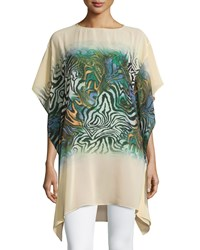 Neiman Marcus Printed Oversized Tunic Cream Multi