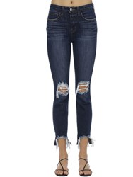 L'agence Destroyed High Rise Stretch Jeans Blue