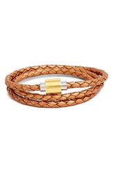 Women's Liza Schwartz 'Sobe Original' Braided Leather Wrap Bracelet Rose Gold