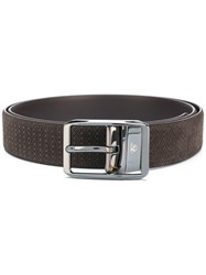 Canali Textured Buckle Belt Leather Brown
