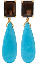 Bounkit Gold Tone Quartz And Turquoise Earrings One Size