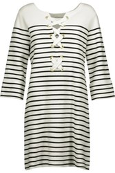 Maje Montorgue Lace Up Striped Knitted Mini Dress Off White