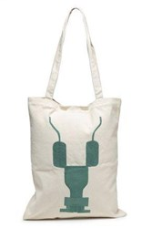 Rick Owens Drkshdw By Woman Embroidered Canvas Tote Ecru