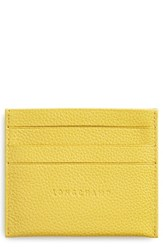 Longchamp 'Le Foulonne' Pebbled Leather Card Holder Yellow Mimosa