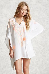 Forever 21 Embroidered Cover Up Kaftan Cream Multi